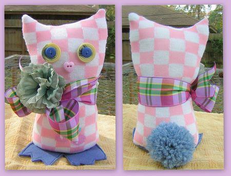 Pink check sock animal