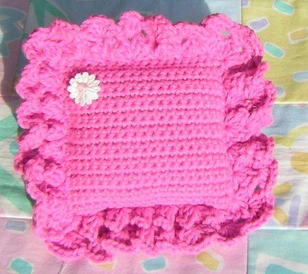 Crocheted pillow pink