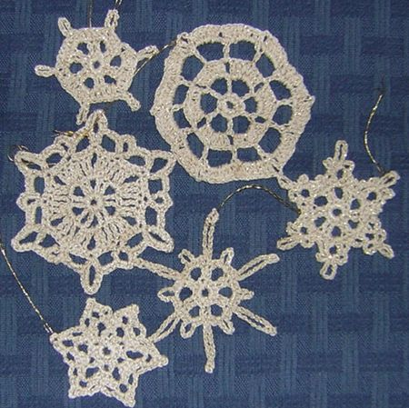 Crochet snow ornaments