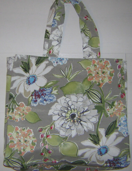 Grey flowered shopping bag